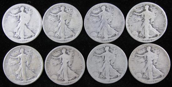Lot of (8) 1918 Walking Liberty Half Dollar.