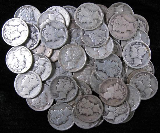 Lot of (50) Mixed Date Mercury Dimes.