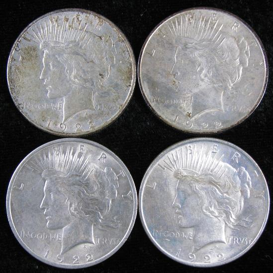 Lot of (4) 1922 Peace Dollars.