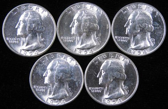 Lot of (5) 1954 Washington Quarters.