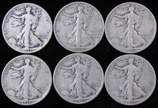 Lot of (6) 1935 Walking Liberty Half Dollars.