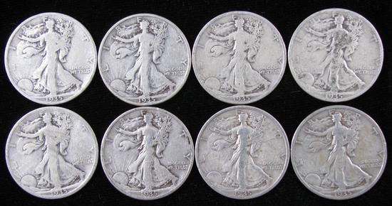Lot of (8) 1935 Walking Liberty Half Dollars.