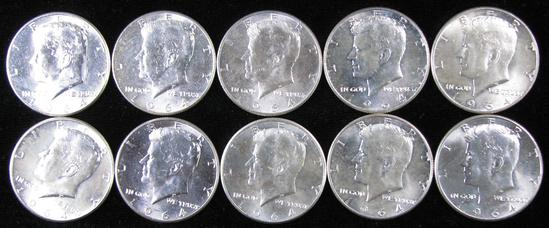 Lot of (10) 1964 Kennedy Half Dollars 90% Silver.