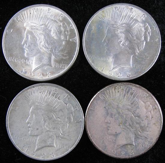 Lor of (4) Peace Dollars (3) 1923 P & (1) 1923 S.