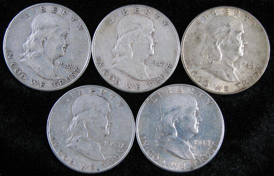 Lot of (5) 1948 D Franklin Half Dollars.