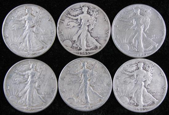 Lot of (6) 1945 Walking Liberty Half Dollars.