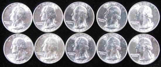 Lot of (10) 1954 Washington Quarters.