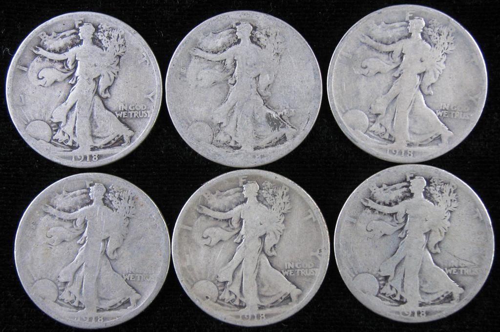 Lot of (6) 1918 Walking Liberty Half Dollar.
