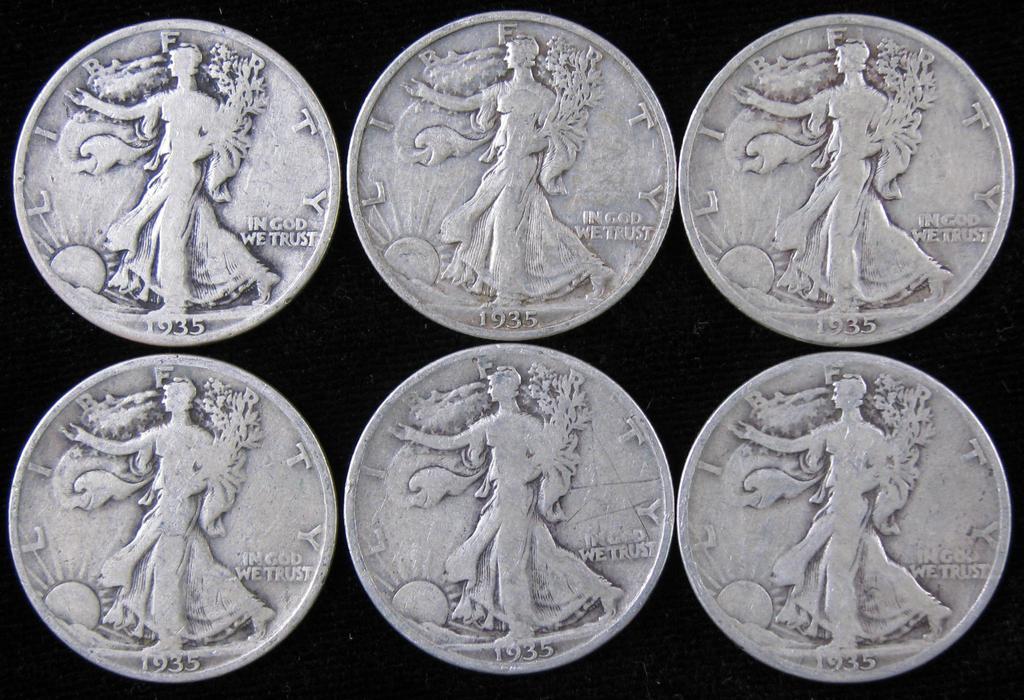 Lot of (6) 1935 Walking Liberty Half Dollars.