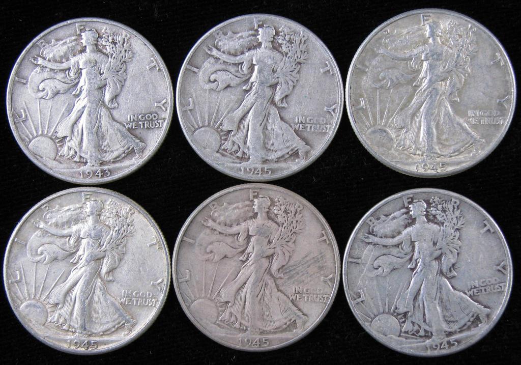Lot of (6) 1945 Walking Liberty Half Dollars.