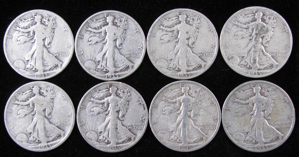Lot of (8) 1935 Walking Liberty Half Dollars.