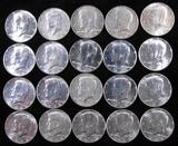 Lot of (20) Mixed Date 40% Silver Kennedy Half Dollars.