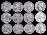 Lot of (12) Mixed Date Washington Quarters 90% Silver.