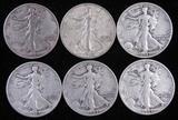 Lot of (6) 1943 S Walking Liberty Half Dollars.
