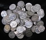 Lot of (100) Mixed Date Silver Jefferson War Nickels.