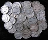 Lot of (50) Mixed Date Mercury Dimes.