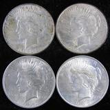 Lot of (4) 1922 Peace Dollars.