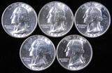Lot of (5) 1954 Washington Quarters.