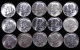 Lot of (15) 1964 Kennedy Half Dollars 90% Silver.