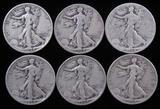 Lot of (6) 1934 Walking Liberty Half Dollars.