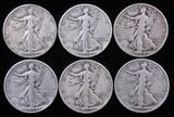 Lot of (6) Walking Liberty Half Dollars includes (4) 1934 & (2) 1935.