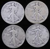 Lot of (4) 1929 S Walking Liberty Half Dollars.