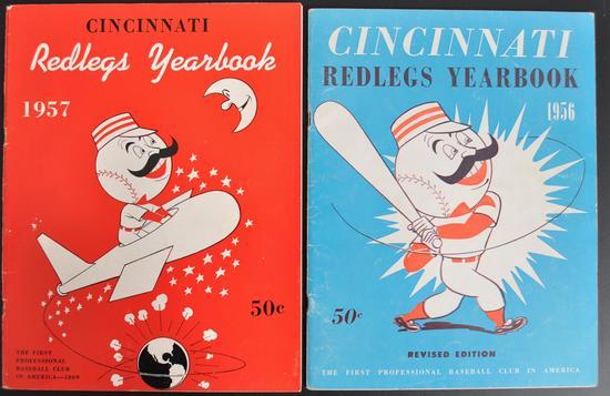 Group of 2 1956-57 Cincinnati Redlegs Yearbooks
