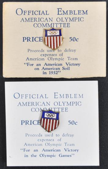 Group of 2 1932 Official Emblem of the American Olympic Committee Emanuel Pins