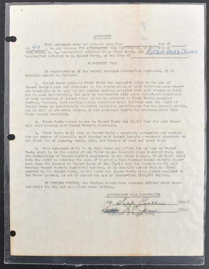 1949 Agreement Between Willie Jones and The Autographed Ball Corporation