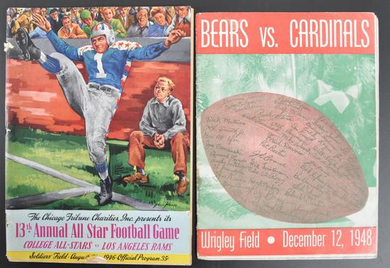 Group of 2 Antique Chicago Bears and All Star Football Souvenir Programs