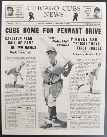 Chicago Cubs News Wrigley Field September 3rd 1937