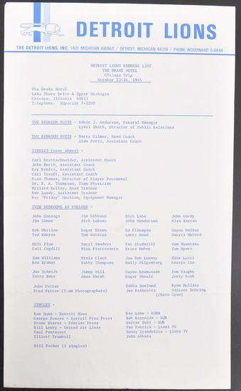 December 23-24th 1965 Detroit Lions Rooming List at the Drake Hotel in Chicago Il.