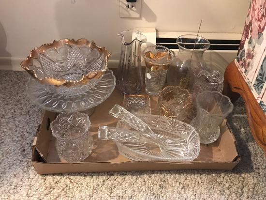 Group of clear pressed glass