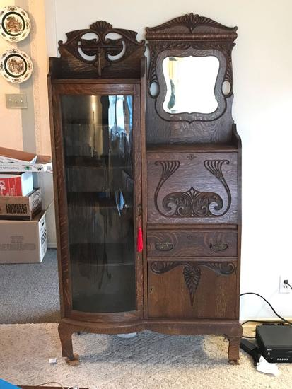 Antique quartersawn oak secretary with curved glass door and beveled glass mirror