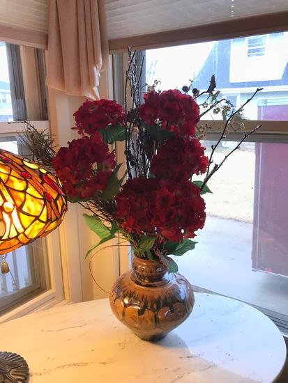 Vintage stoneware vase with florals