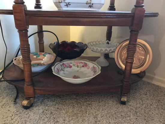 Shelf lot of miscellaneous dishes