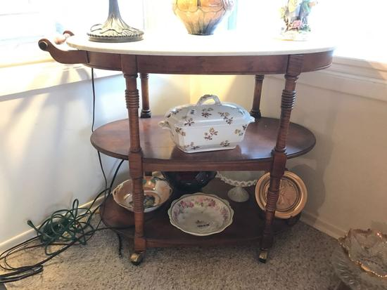 Vintage three tier oval tea cart with marble top