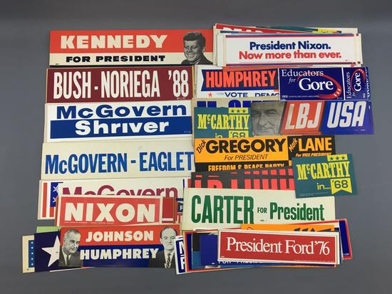 Group of vintage political bumper stickers