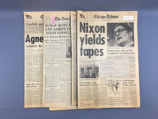 Group of 1973 Chicago Tribune newspaper of Agnew resignation