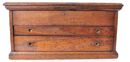 Antique Oak Tool Chest with Cast Iron Handles