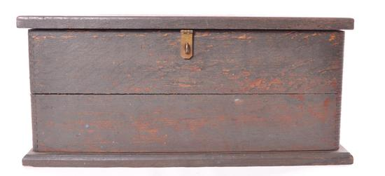 Antique Wood Tool Box with Mortise and Tenon Joinery and Cast Iron Handles