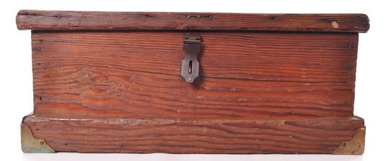 Antique Pine Tool Box with Brass Accents