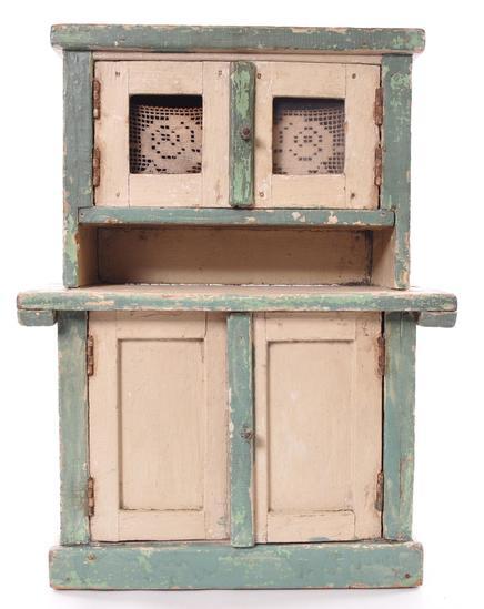 Antique Primitive Chipped Paint Child's Doll Kitchen Cabinet