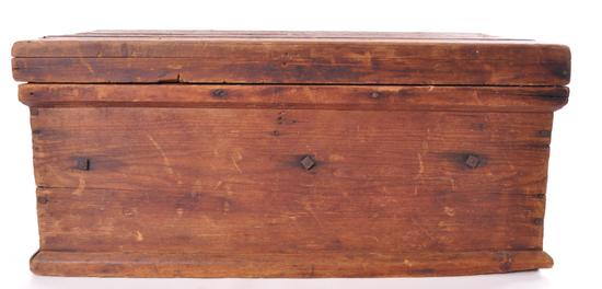 Antique Pine Tool Box with Ornate Cast Iron Handles