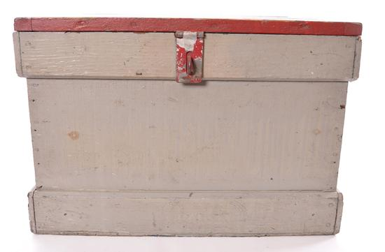 Antique Grey Wood Tool Box with Handles