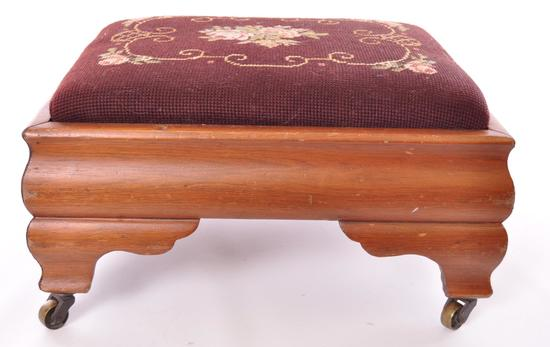 Antique Wood Foot Stool with Needlepoint Cushion and Brass Casters