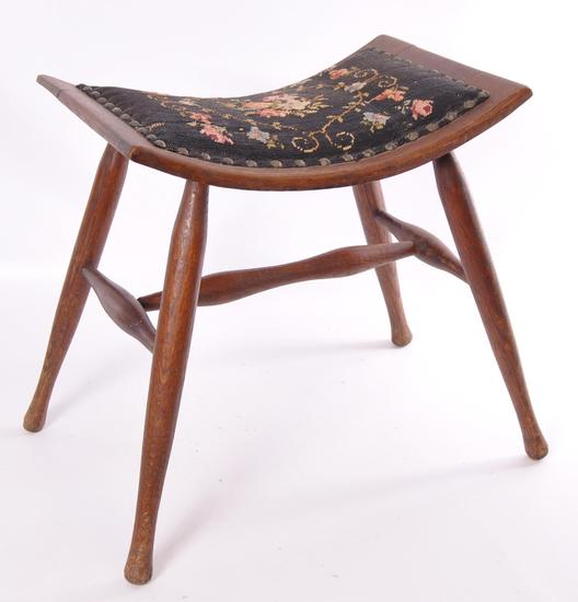Antique Oak Stool with Needlepoint Upholstery