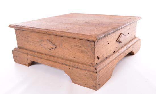 Antique Square Oak Step Stool