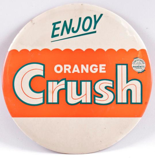 "Vintage Orange Crush ""Enjoy Orange Crush"" Celluloid on Cardboard Advertising Button"