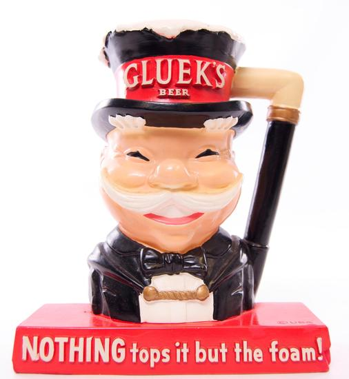 Antique Gluek's Beer Advertising Plaster Statue